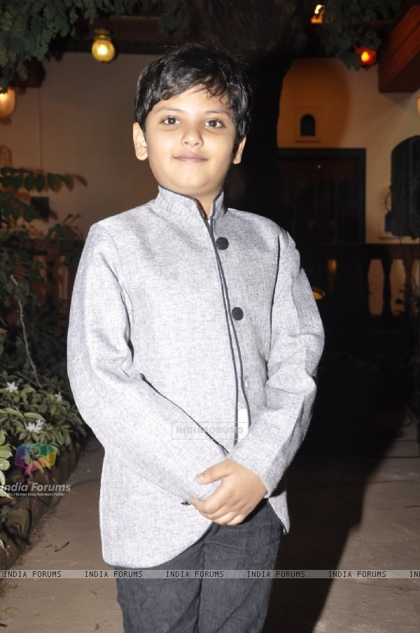 Child Artist who plays the younger Rudra in Mahakumbh poses for the media at the Launch