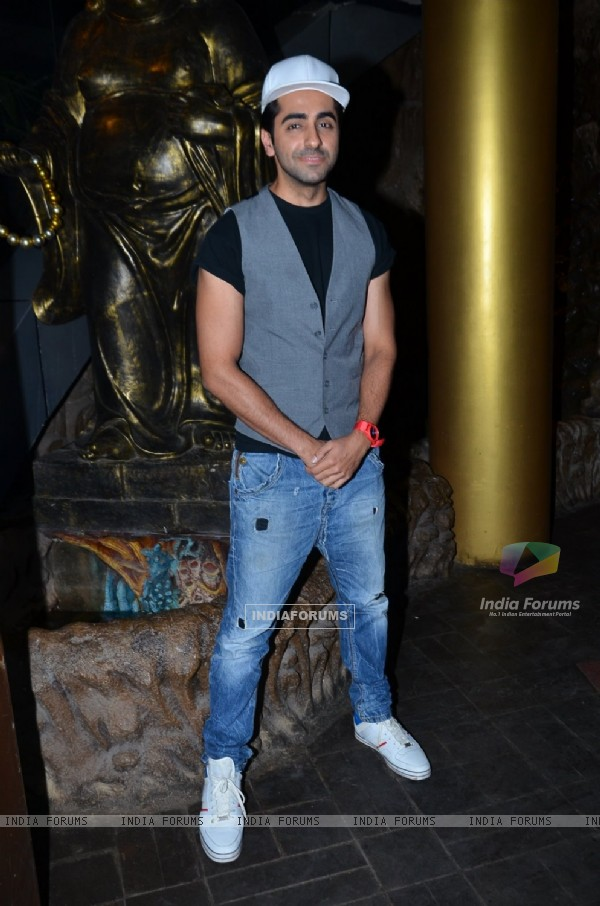 Ayushmann Khurrana poses for the media at Richa Chadda's Birthday Bash