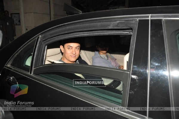 Aamir Khan and Kiran Rao were snapped at the Special Screening of P.K. at Ambani's Residence