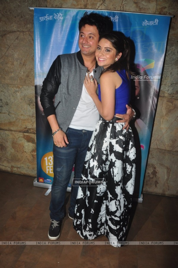 Swapnil Joshi and Sonalee Kulkarni pose for the media at the Special Screening of Mitwaa