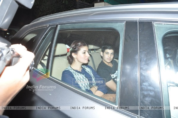 Twinkle Khanna was snapped along with Son at the Special Screening of P.K. at Yashraj Studio