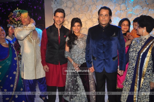 Hrithik Roshan poses with Uday and Shirin at their Sangeet Ceremony