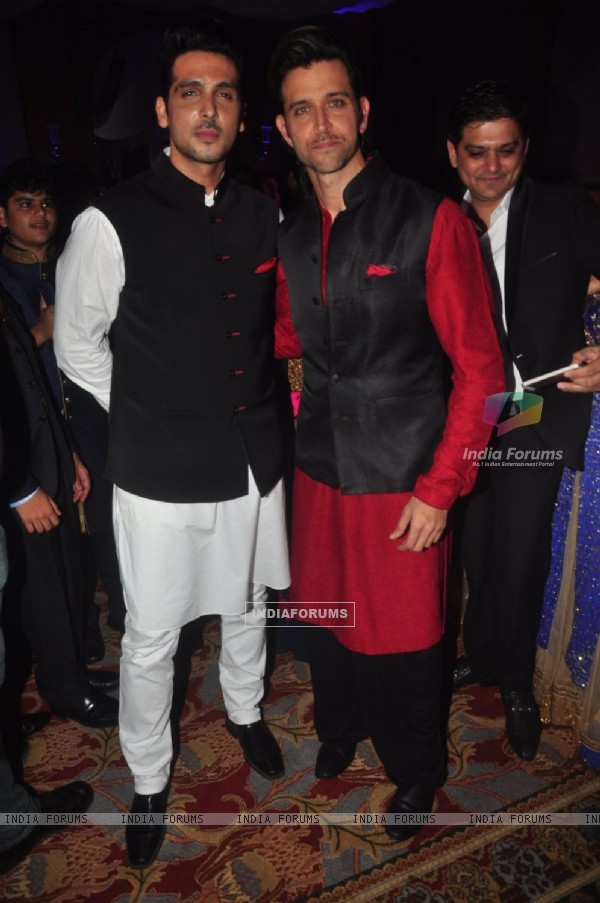 Hrithik Roshan and Zayed Khan pose for the media at Uday and Shirin's Sangeet Ceremony