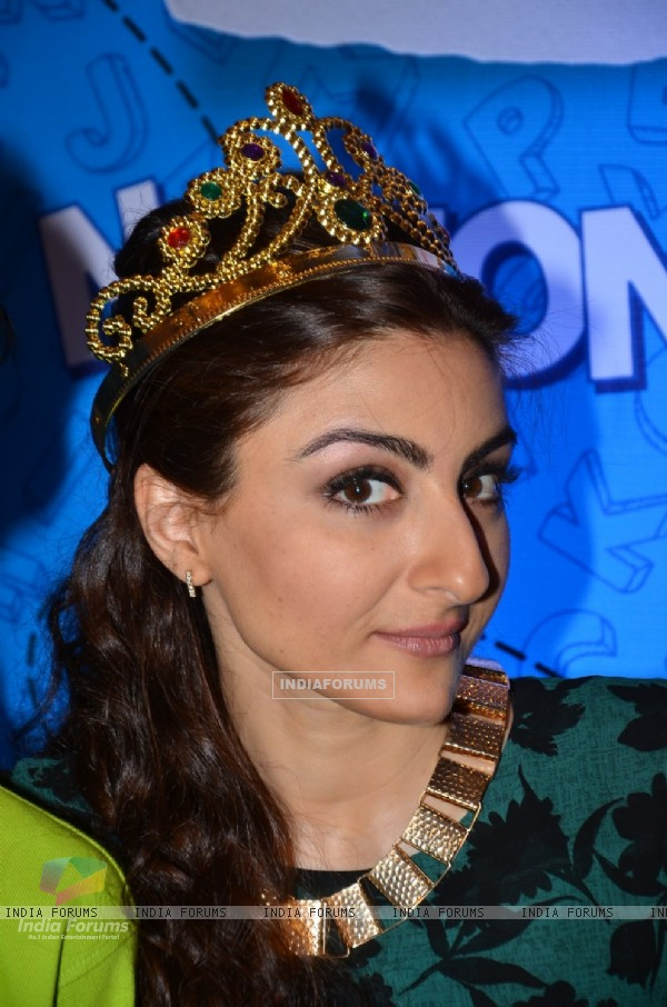 Soha Ali Khan snapped wearing a crown at ITC Classmates Event