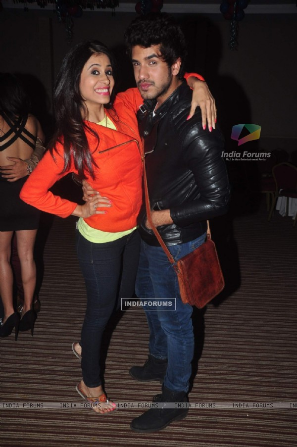 Kishwer Merchantt and Suyyash Rai pose for the media at Ravi Dubey's Birthday Bash