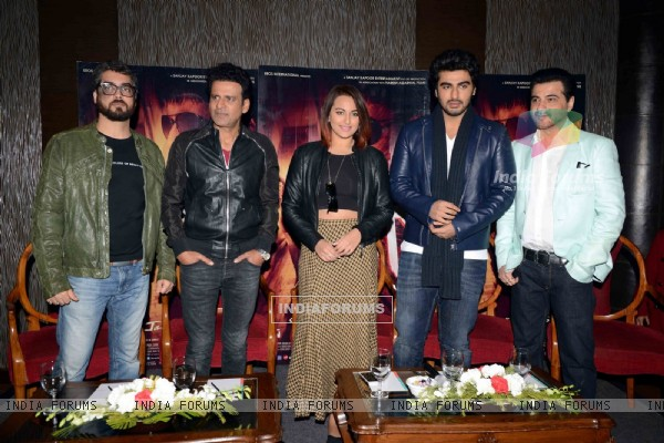 Team poses for the media during the Promotions of Tevar in Delhi
