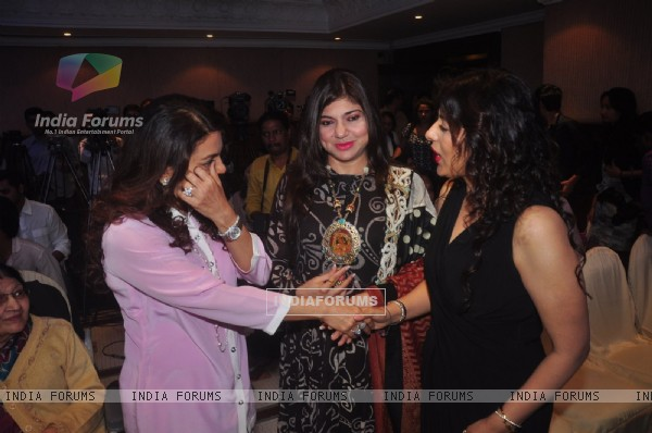 Juhi Chawla was snapped greeting Puja Miri Yagnik at the Book Launch