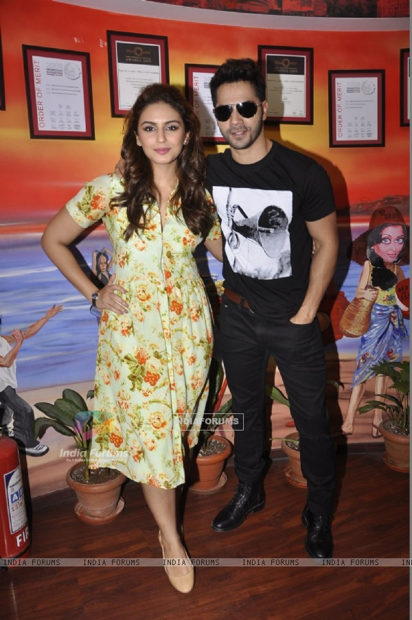 Varun Dhawan and Huma Qureshi pose for the media at the Promotions of Badlapur on 93.5 Red FM