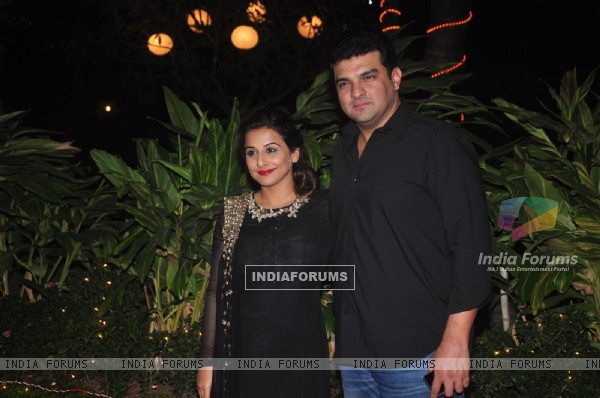 Siddharth Roy Kapoor and Vidya Balan pose for the media at Farah Khan's Birthday Bash