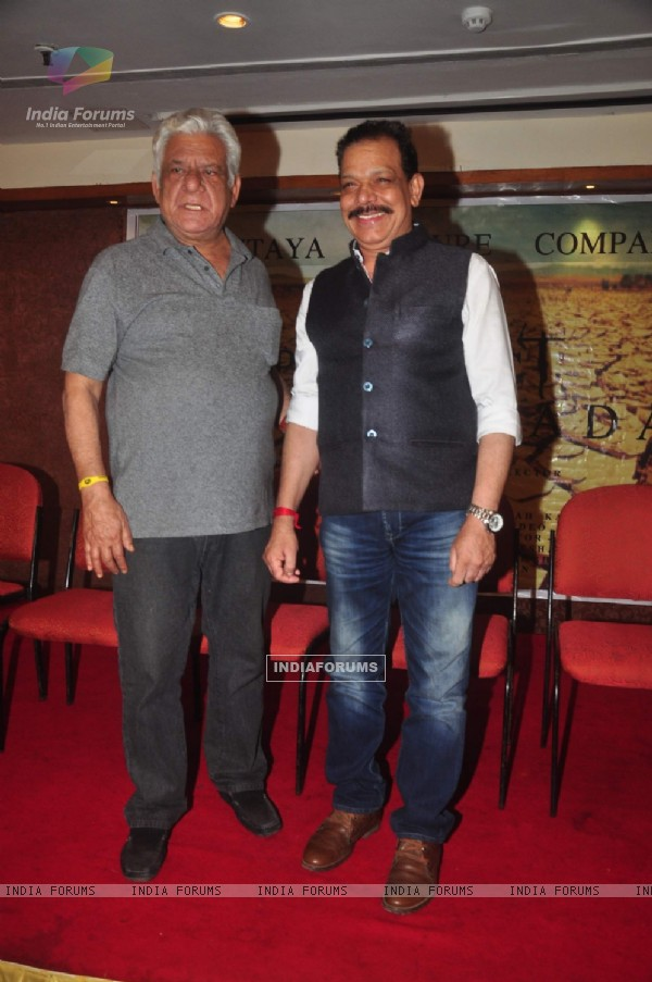 Om Puri and Govind Namdeo pose for the media at the Launch of film Project Marathwada