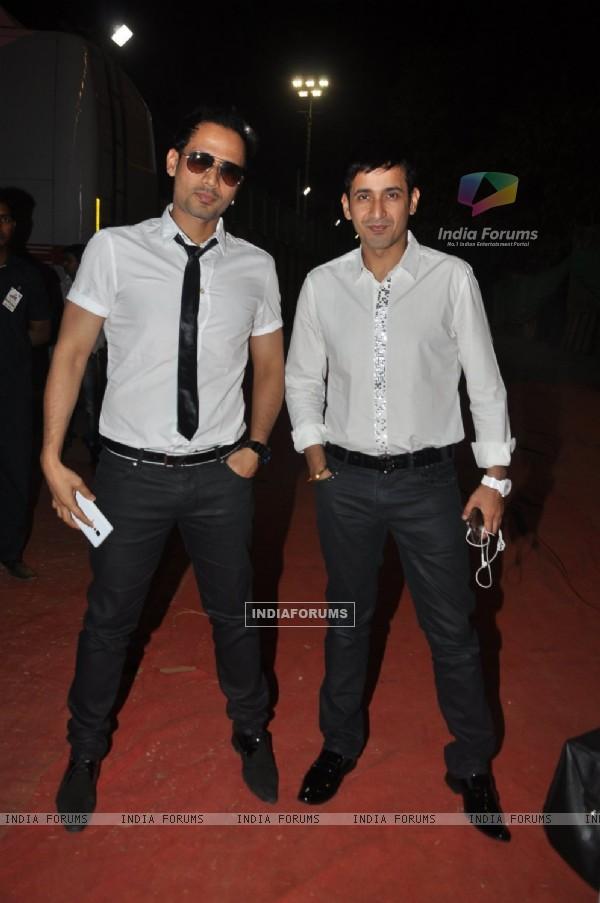 Harmeet Singh and Manmeet Singh pose for the media at Umang Police Show