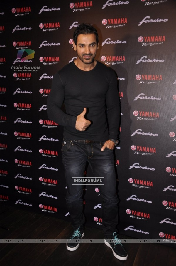 John Abraham poses for the media at the Launch of Yamaha Fascino Calendar