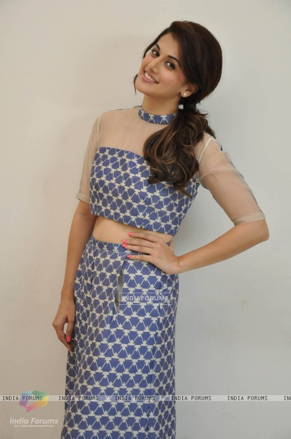 Taapsee Pannu poses for the media at the Press Meet of BABY in Hyderabad