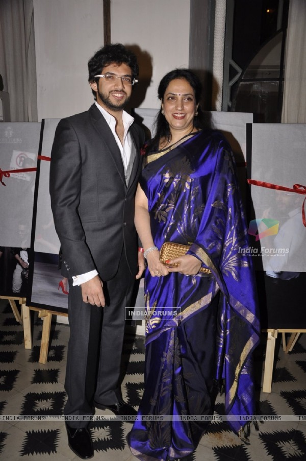 Aditya Thackeray poses with his mother Rashmi Thackeray at The Bohemian Calendar Launch