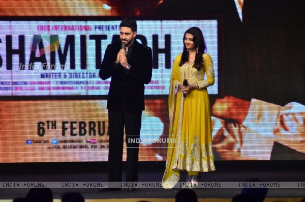 Abhishek Bachchan interacts with the audience at the Music Launch of Shamitabh