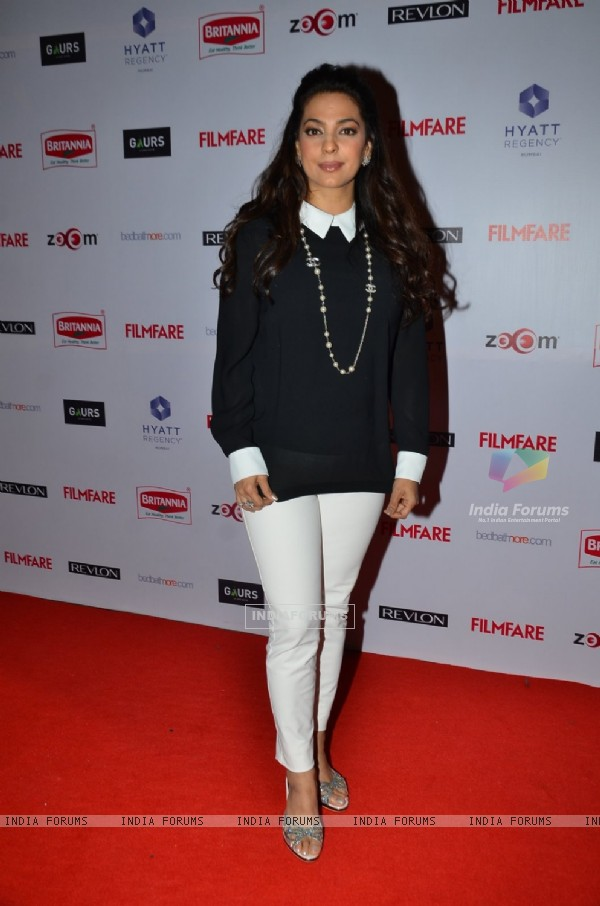 Juhi Chawla poses for the media at Filmfare Nominations Bash