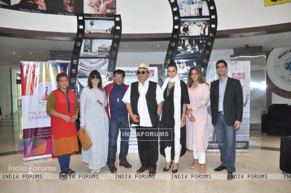 Celebs pose for the media at Whistling Woods