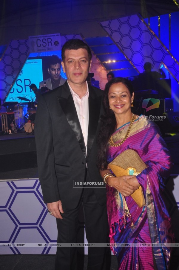 Aditya Pancholi and Zarina Wahab pose for the media at CSR Awards