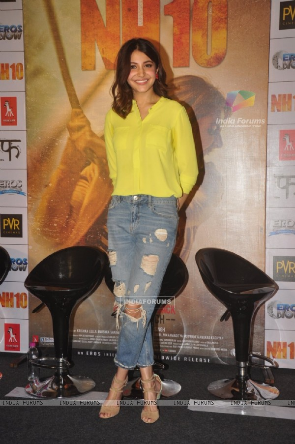 Anushka Sharma poses for the media at the Promotions of NH10