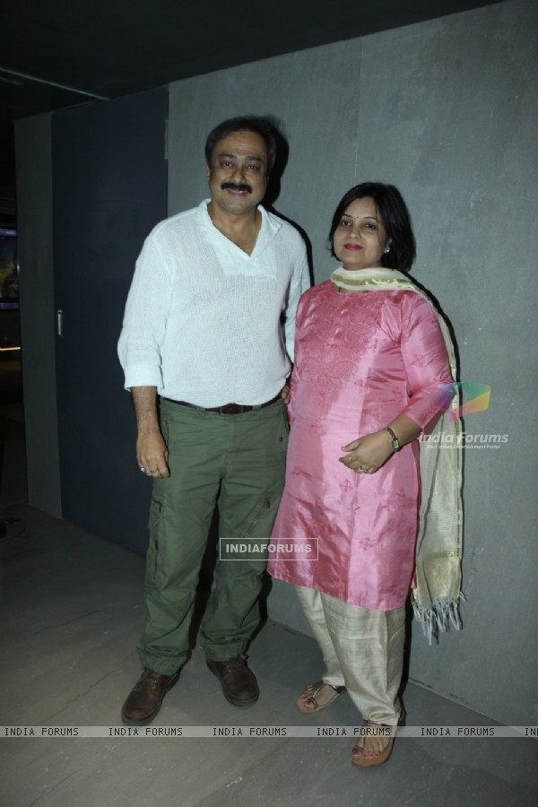 Sachin Khedekar poses for the media at the Premier of Marathi Movie Baji