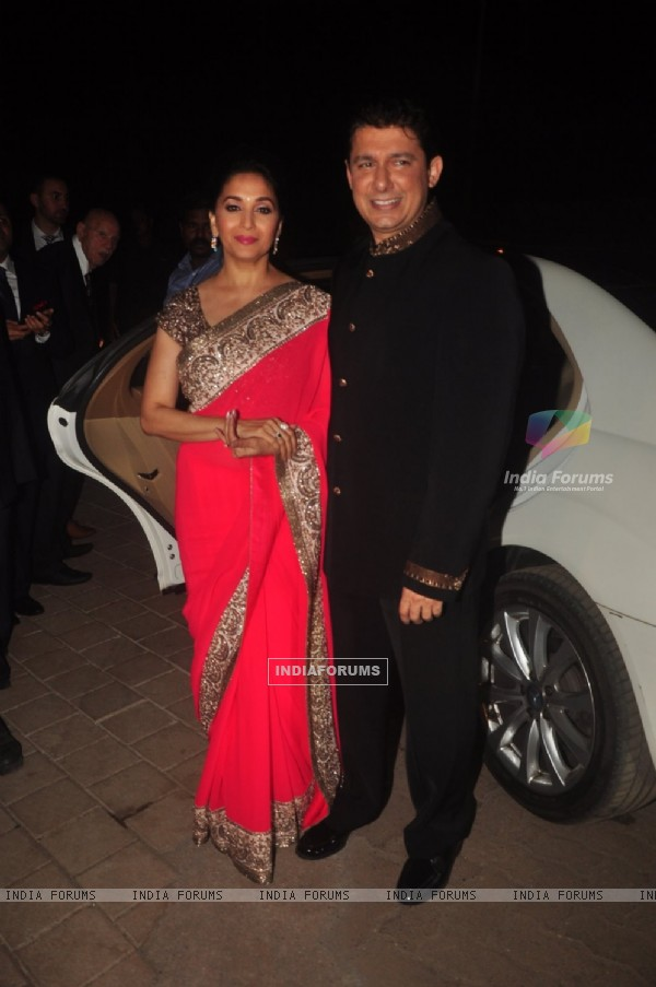 Madhuri Dixit Nene poses with Husband at Hinduja Bash