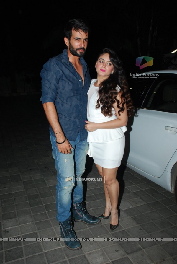 Jay Bhanushali poses with wife Mahhi Vij at Ahmed Khan's Marriage Anniversary Bash