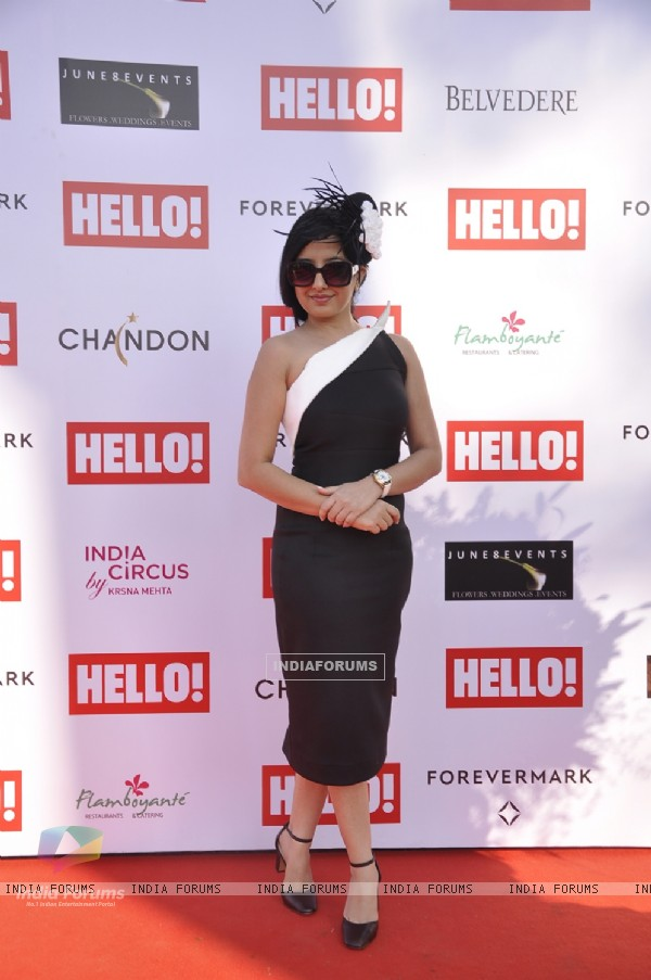 Amy Billimoria poses for the media at The Hello! Classic Cup 2015