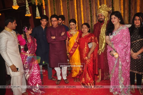 Raj Thackeray poses with the Wedding Couple Rahul and Aditi Thackeray