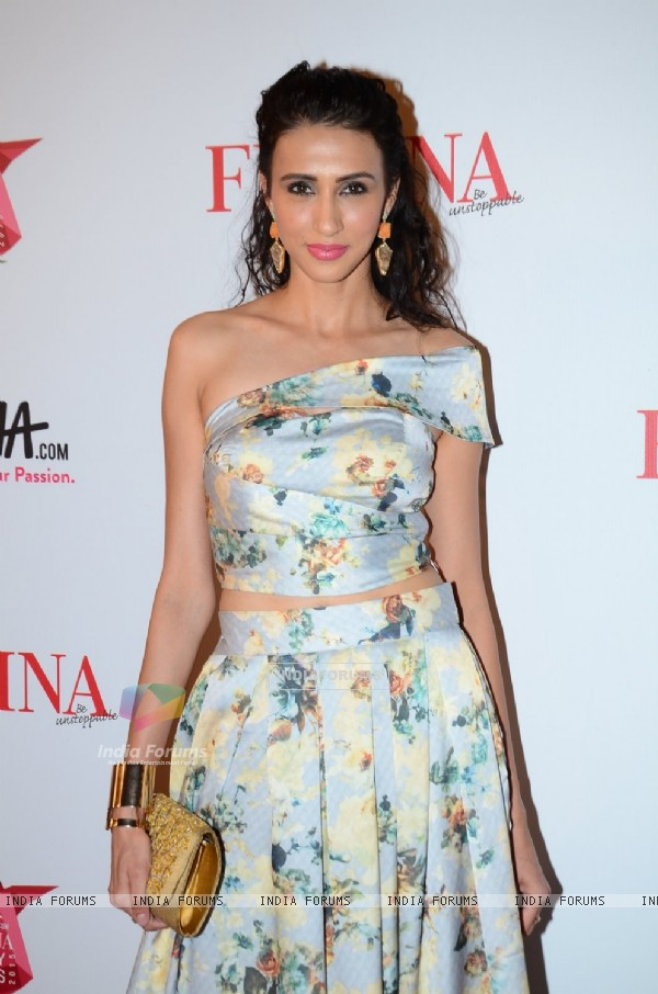 Alicia Raut poses for the media at Femina Beauty Awards