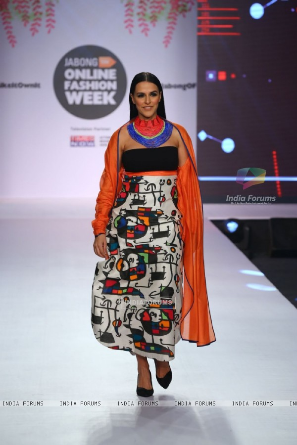 Neha Dhupia walks the ramp at Jabong Online Fashion Week