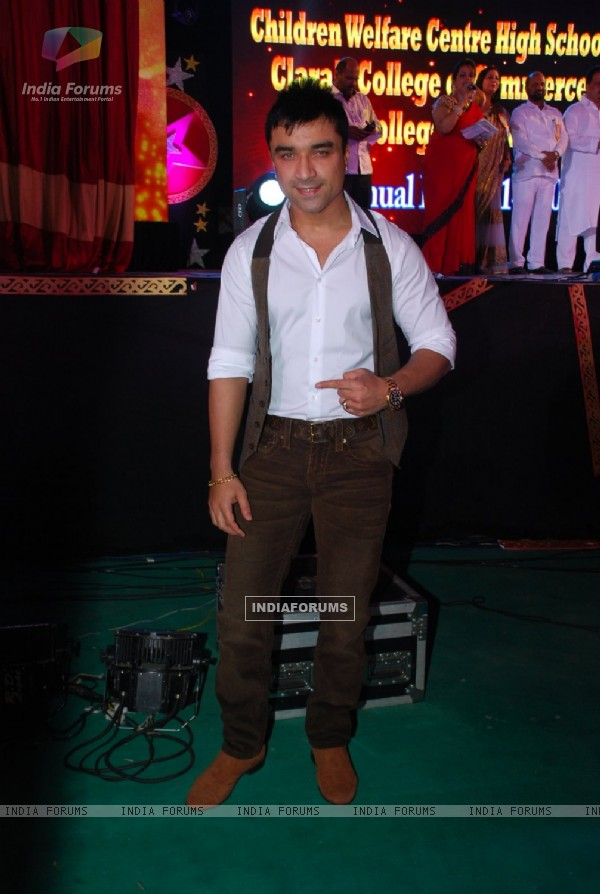 Ajaz Khan poses for the media at the Annual Day of Children's Welfare Centre High School
