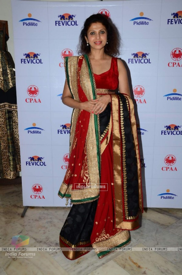 Varsha Usgaonkar poses for the media at Pidilite 10th Caring with Style Fashion Show Preview