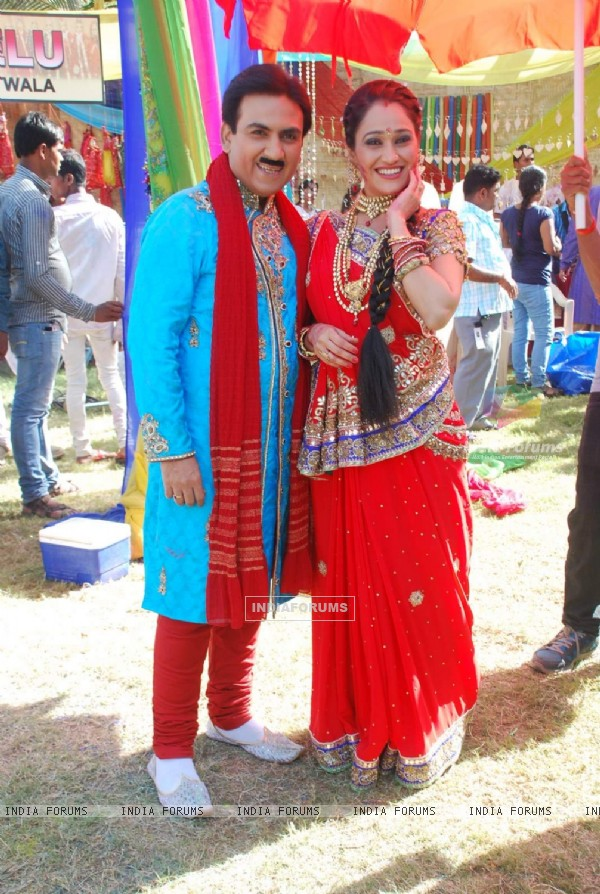 Dilip Joshi and Disha Wakani at Sab TV's Holi Celebration