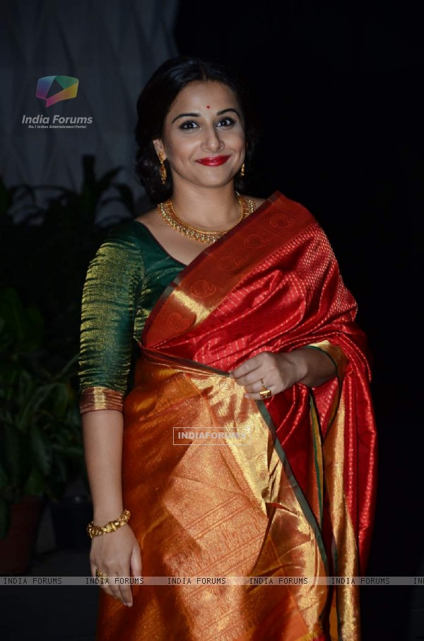 Vidya Balan poses for the media at Tulsi Kumar's Wedding Reception