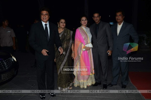 Raj Babbar poses with Family members at Tulsi Kumar's Wedding Reception
