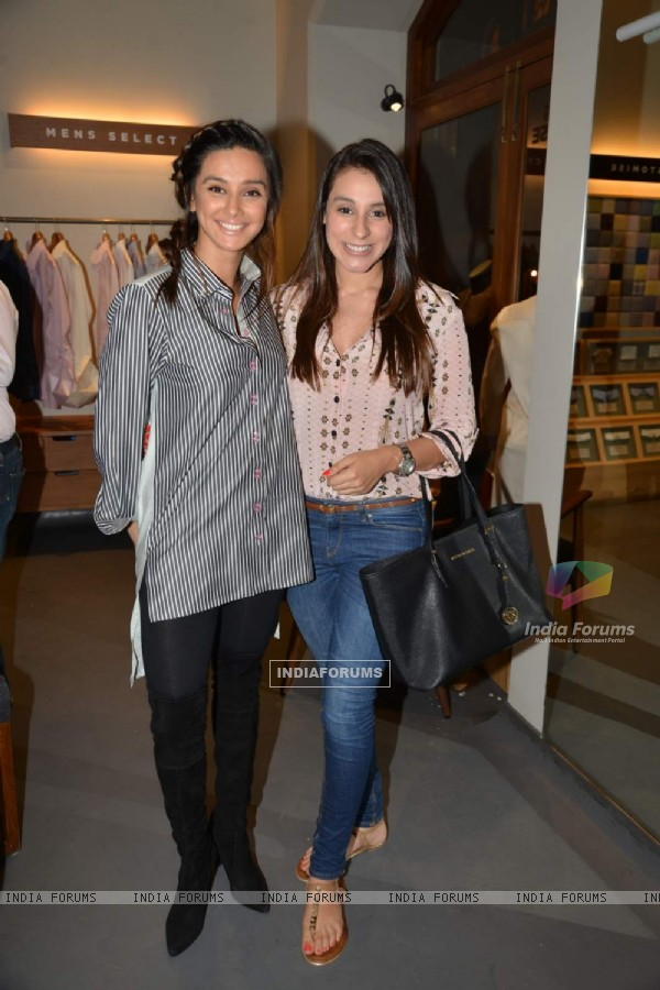 Shibani Dandekar and Anindita Naiyar pose for the media at the Launch of Women's Capsule Collection