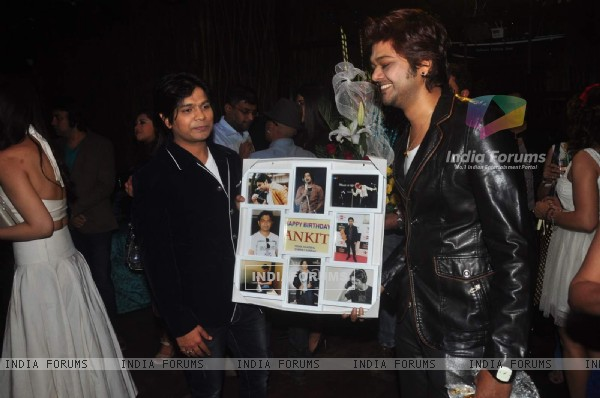 Ankit Tiwari poses with his gift at his Birthday Bash