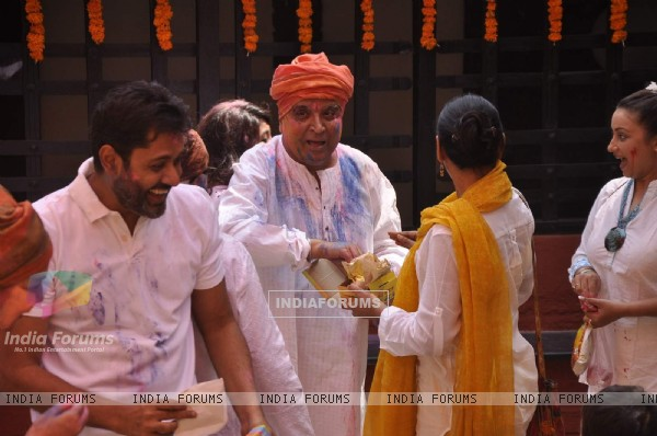 Javed Akhtar was snapped enjoying at Shabana Azmi's Holi Bash