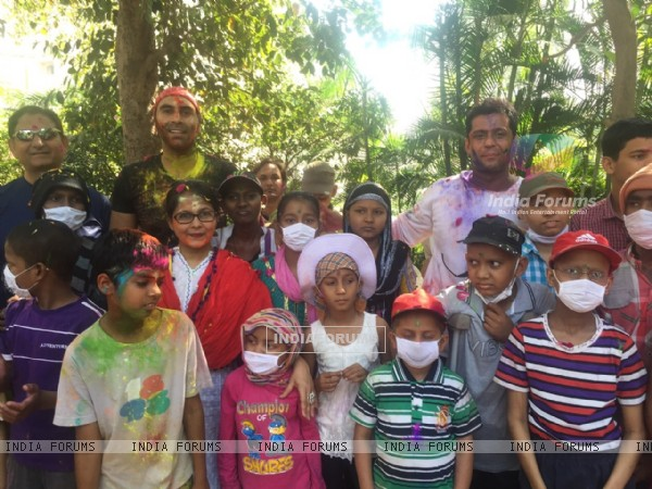 Sandip Soparkar poses with Cancer Patient Children