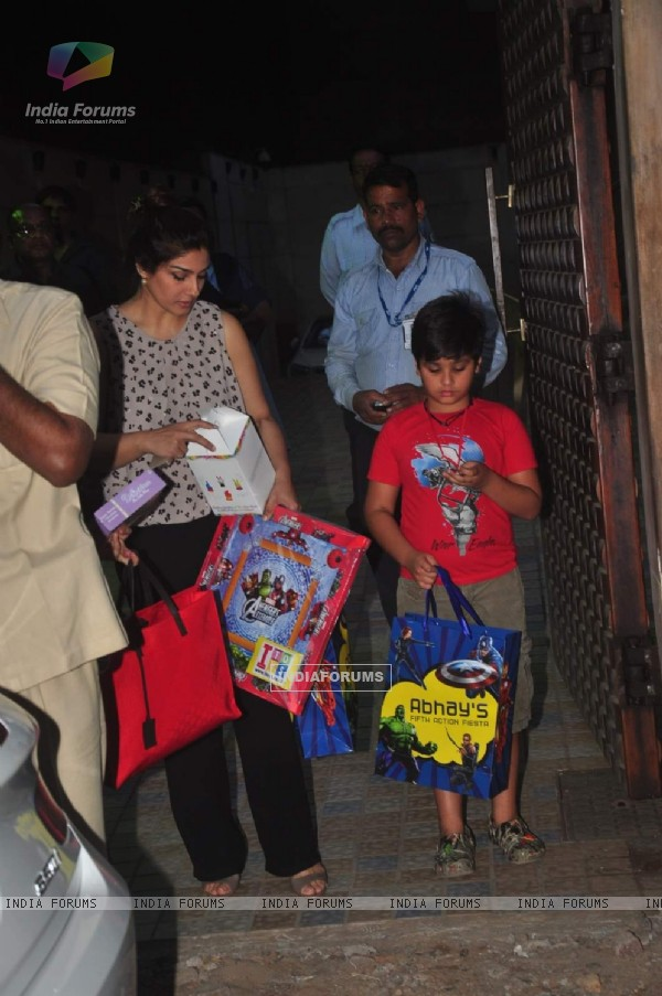 Raveena Tandon was snapped with son at Anu Dewan's Son's Birthday Bash