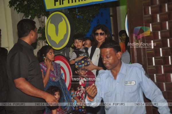 Shilpa Shetty was snapped with Son at Anu Dewan's Son's Birthday Bash