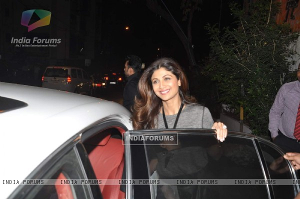 Shilpa Shetty smiles for the camera at Bandra