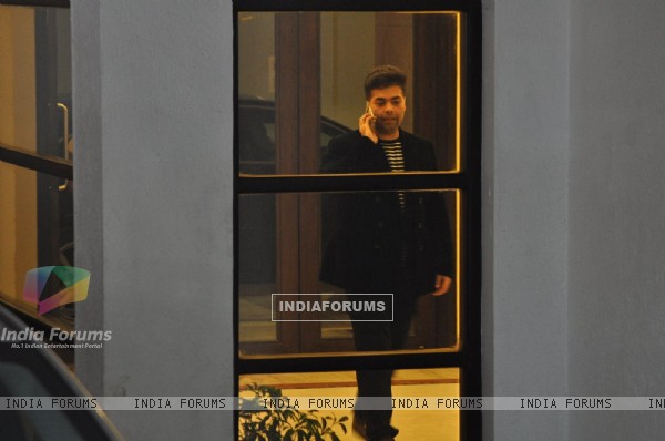 Karan Johar was snapped at Hiroo Johar's Birthday Brunch