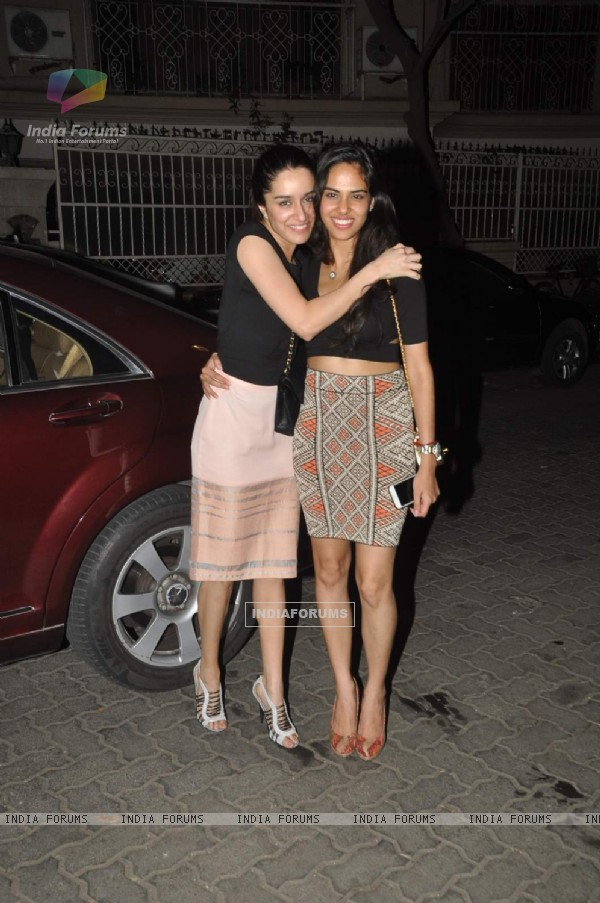 Shraddha Kapoor poses with a friend at Karim Morani's Birthday Bash