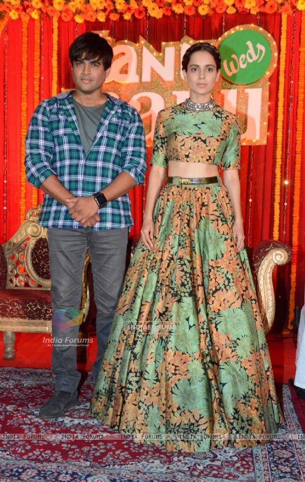 Kangana Ranaut and R. Madhavan pose for the media at the Poster Launch of Tanu Weds Manu Returns
