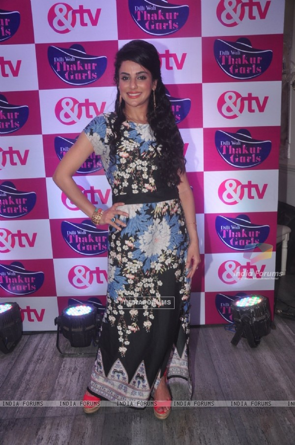 Sanaa Khan poses for the media at the Launch of Dilli Wali Thakur Gurls
