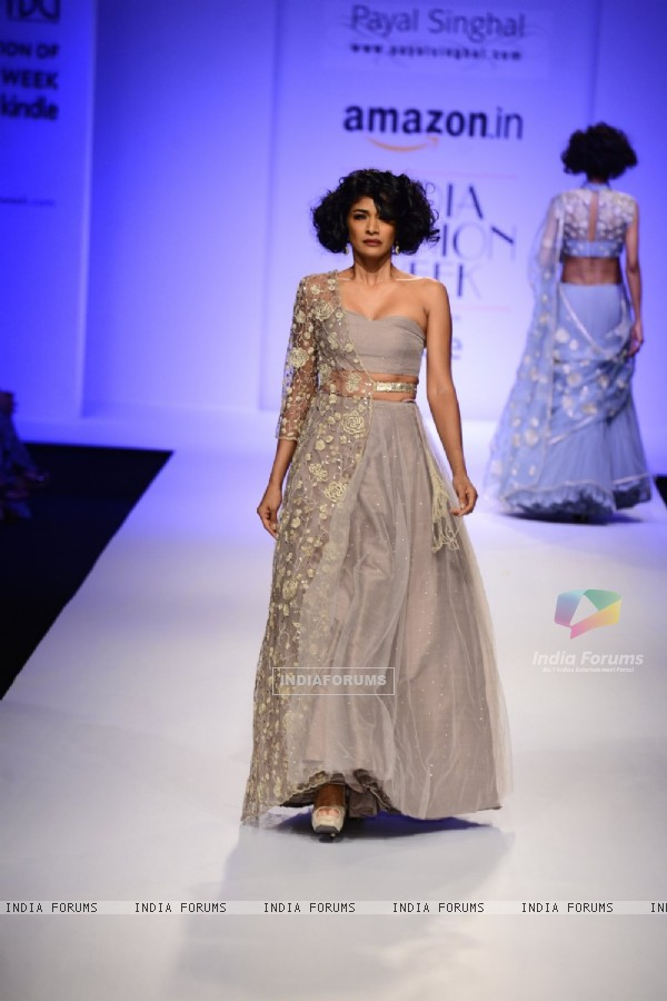 Carol Gracias walks for Payal Singhal at Amazon India Fashion Week 2015 Day 1