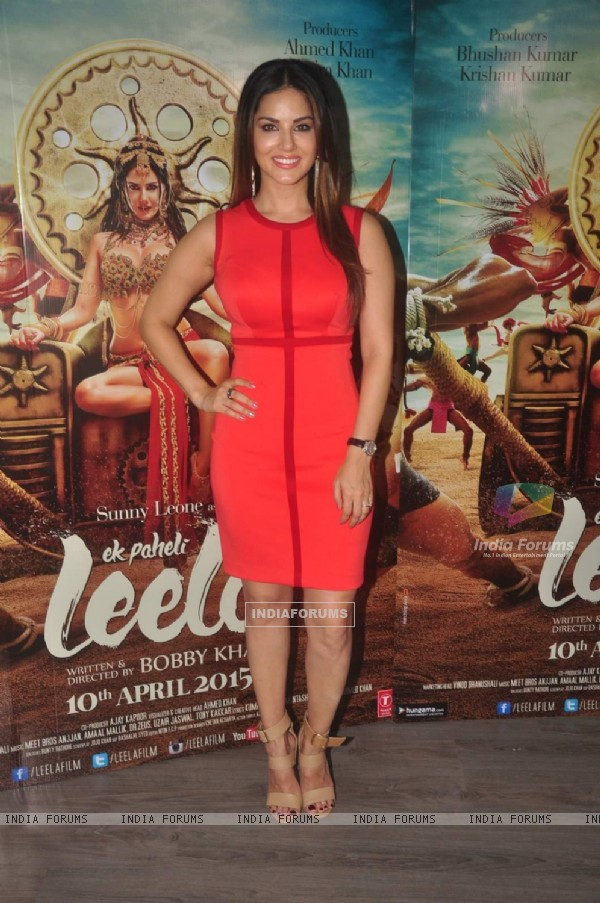 Sunny Leone poses for the media at the Promotions of Ek Paheli Leela