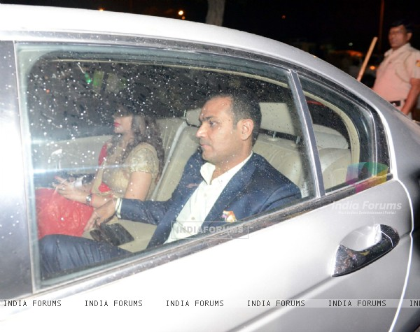 Virender Sehwag was snapped with Wife at Suresh Raina and Priyanka Chaudhary's Wedding Ceremony