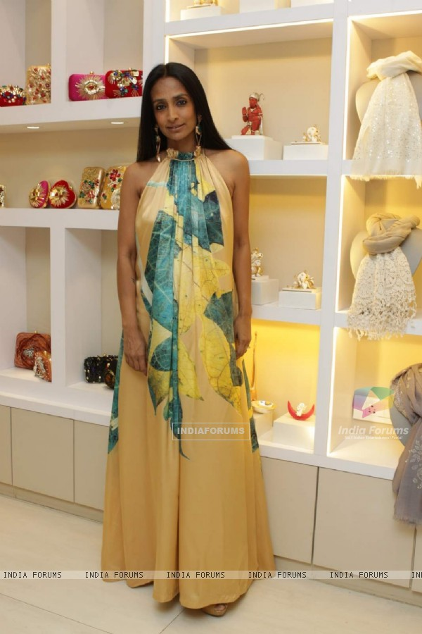 Suchitra Pillai poses for the media at Minerali Store